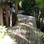 Decking bridge to pool.