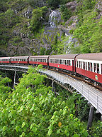 kuranda scenic rail passing stoney creek falls
