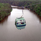 SKYRAIL CABLE CAR OVER THE BARRON RIVER IN KURANDA